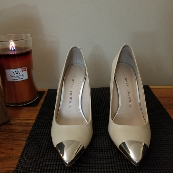 Chinese Laundry Shoes - Chinese Laundry cream high heel with silver toe